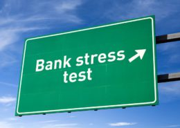 Highway directional sign for Bank stress test. Isolated with clipping path.